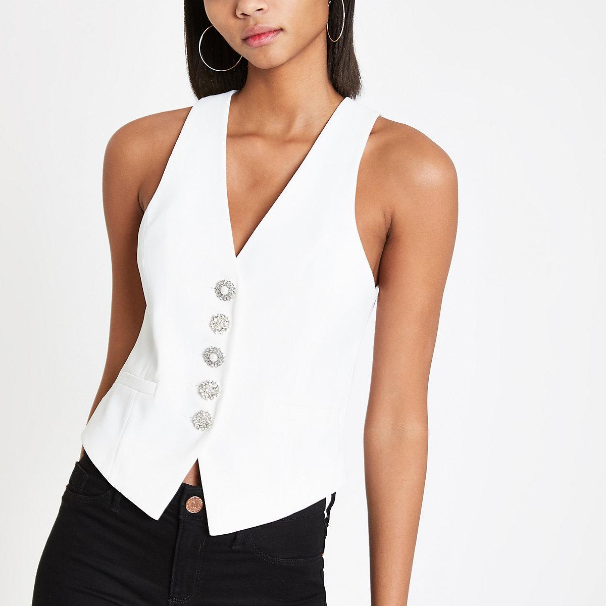 White rhinestone vest