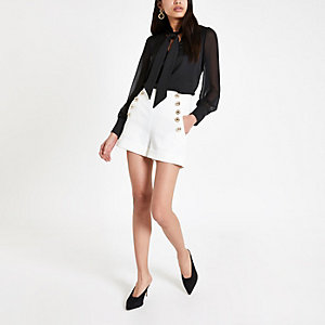 White button front shorts