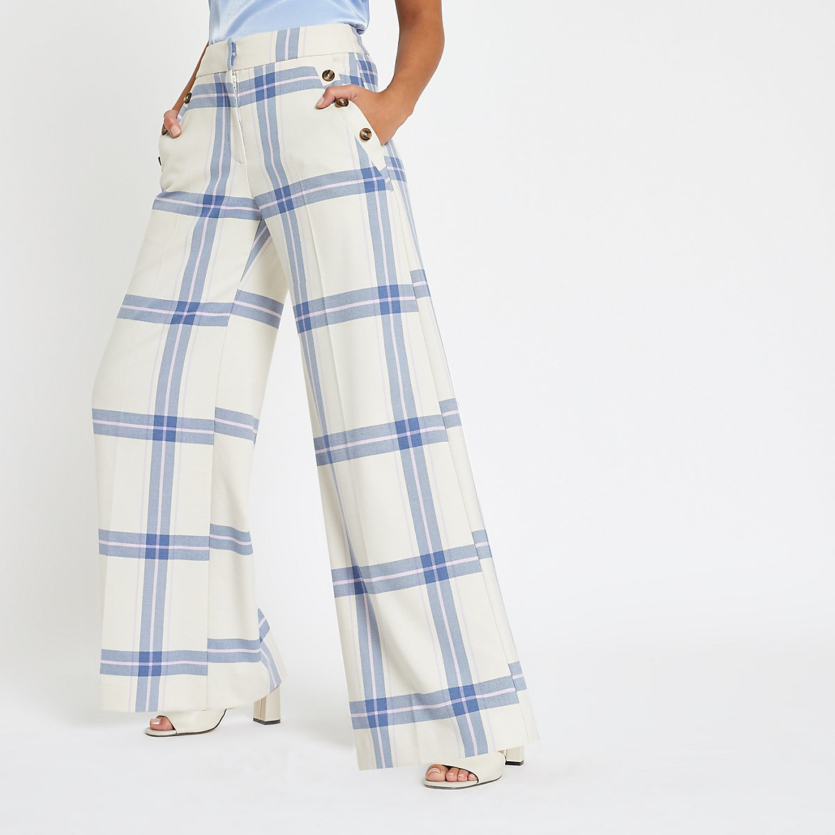 Blue check wide leg trousers
