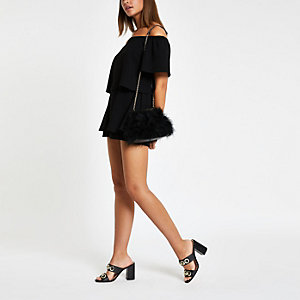 Black bardot skort playsuit