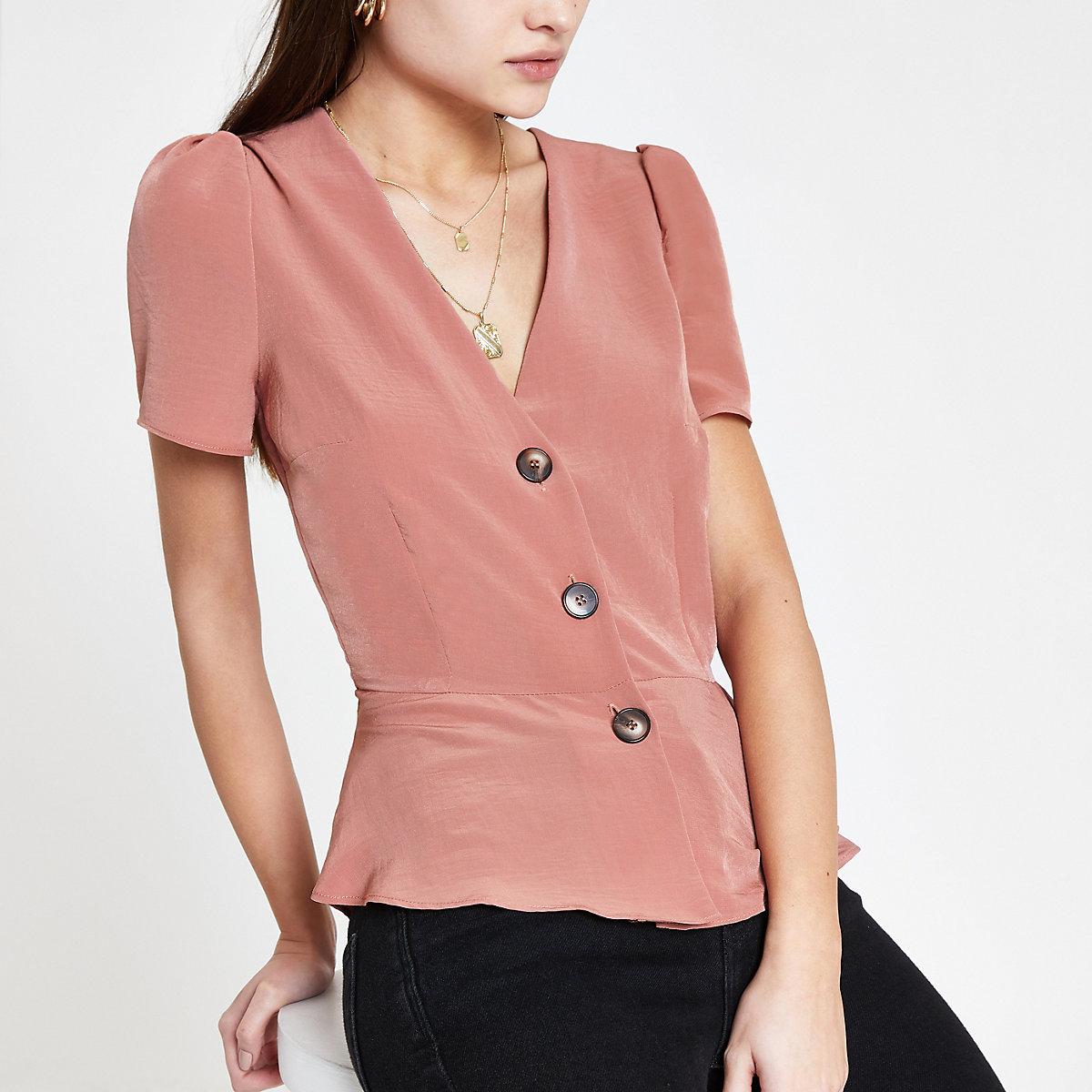 Pink short sleeve tea top