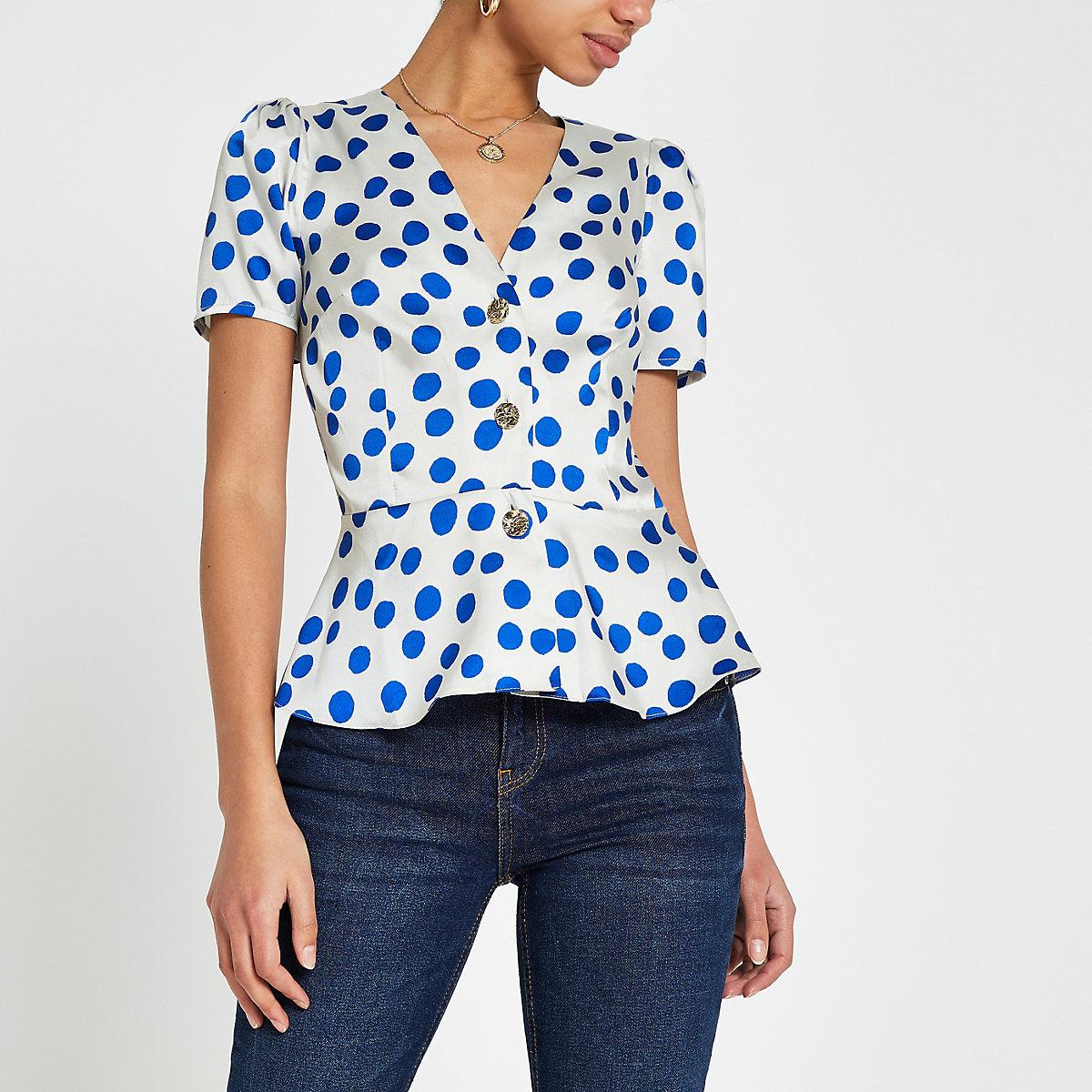 Blue spot short sleeve tea top