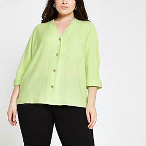 Plus – Limettengrünes, langärmeliges Hemd