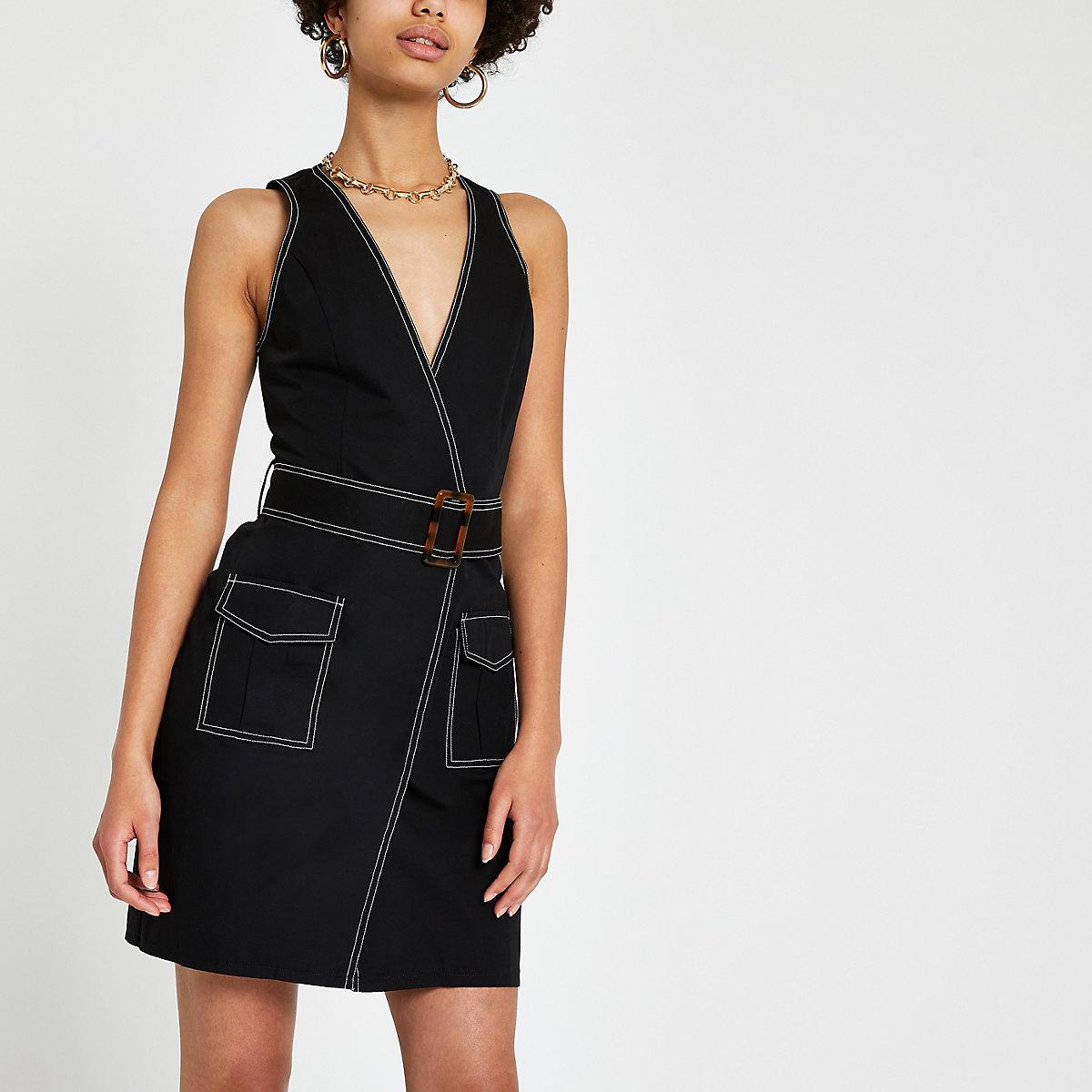 Black utility mini dress