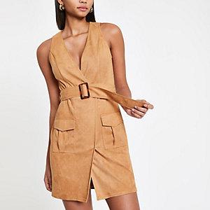 Robe courte fonctionnelle marron clair