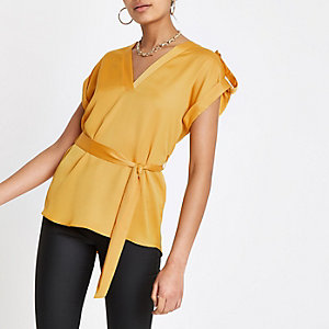 Yellow tie waist V neck blouse