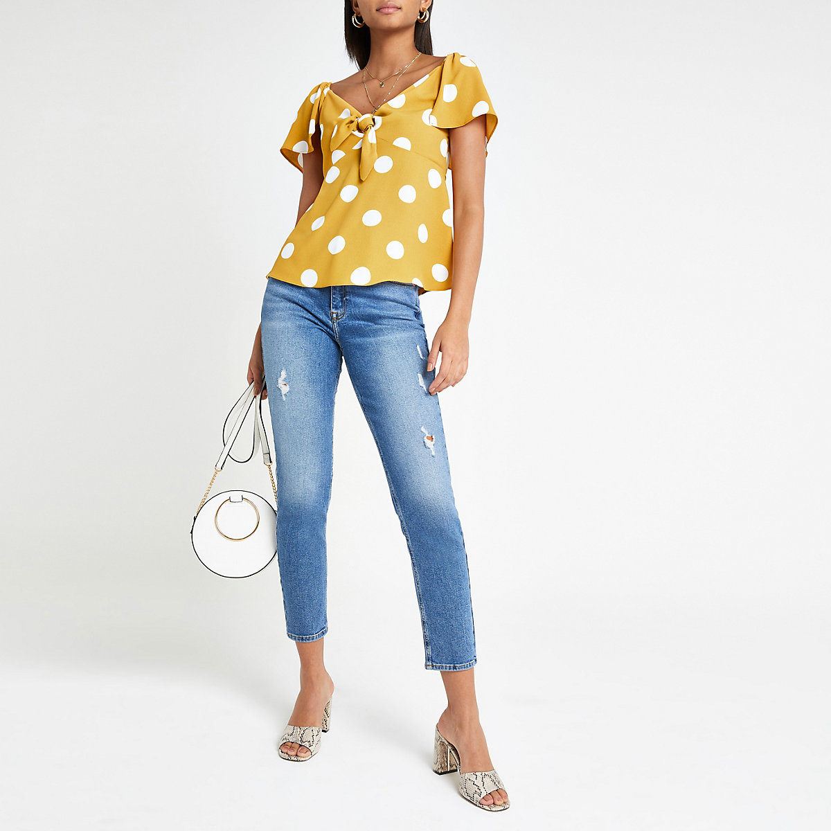 Yellow spot tie front bardot top