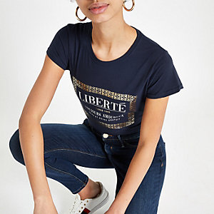 Navy foil box print T-shirt