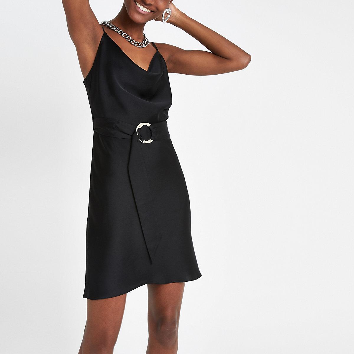 Black cowl neck belted slip dress