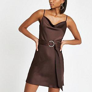 Brown cowl neck belted slip dress