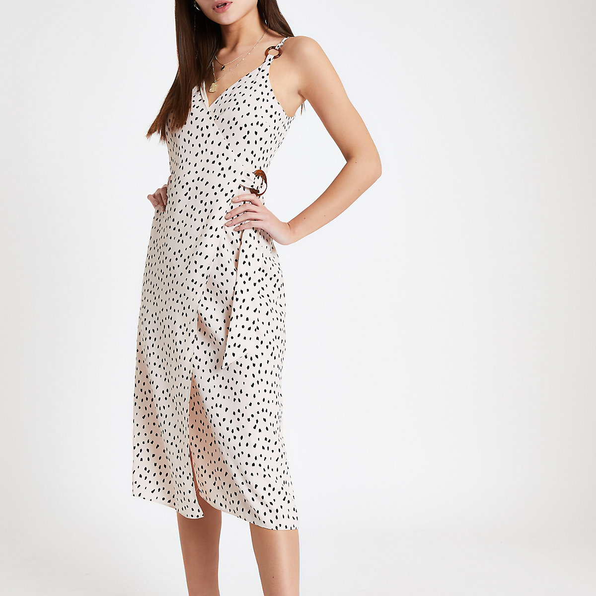 Beige spot wrap slip dress