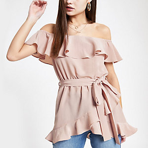 Light pink bardot frill tie waist top