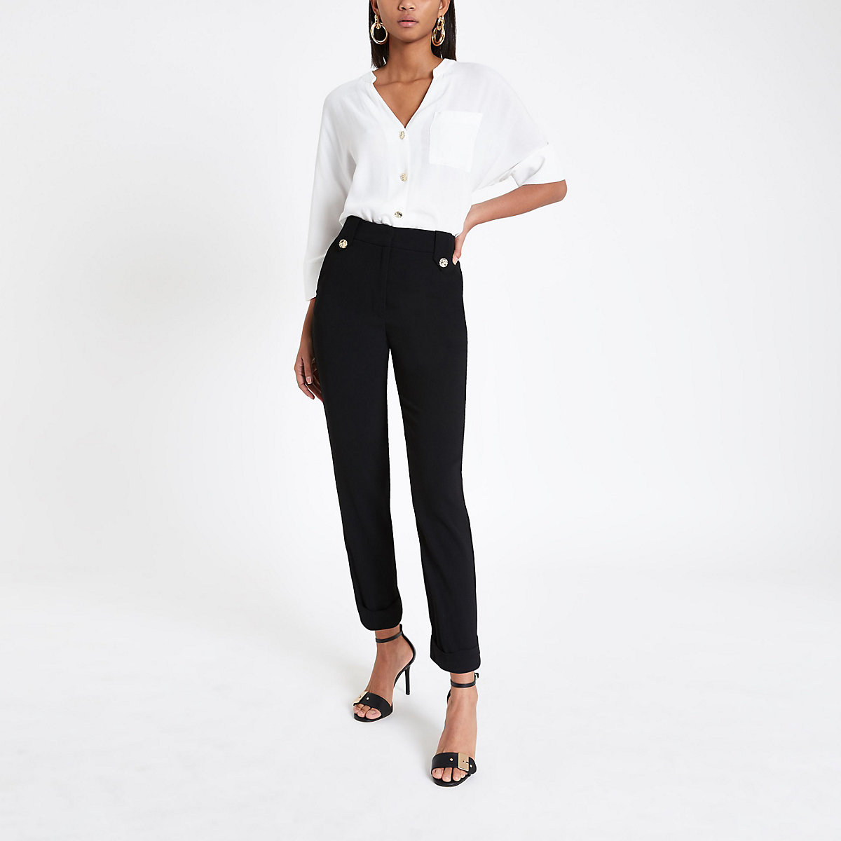 Black crop tapered leg trousers