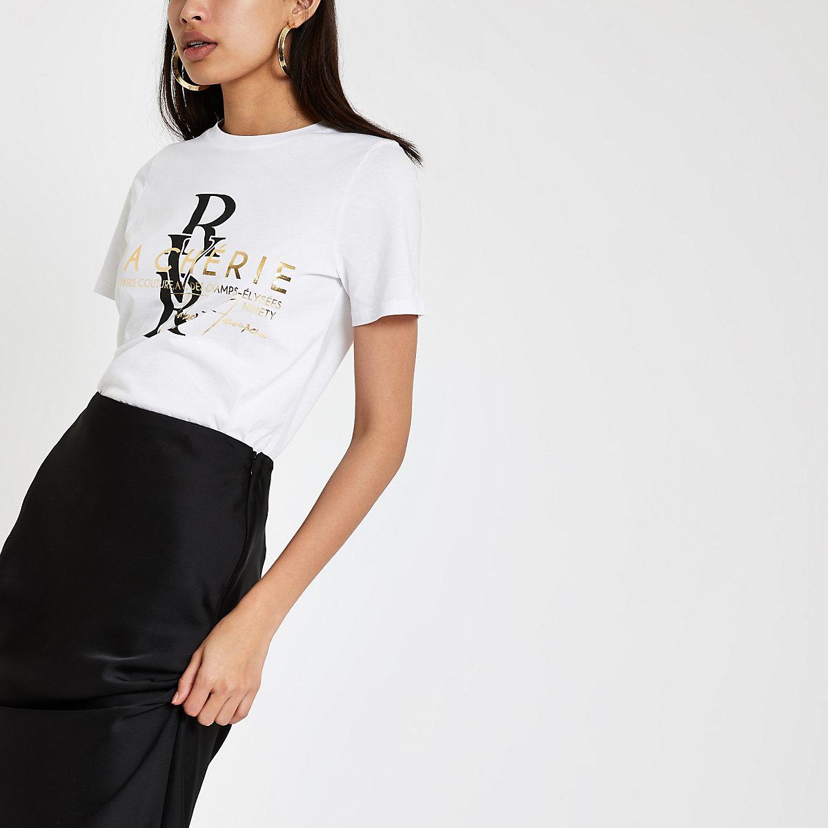 White 'Macherie' foil print T-shirt