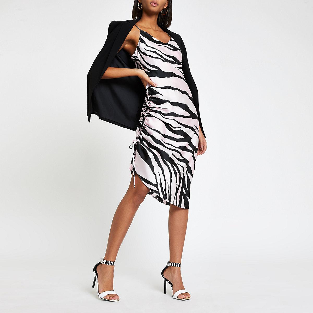 Pink zebra print ruched slip dress