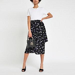 Jupe portefeuille mi-longue à fleurs noire