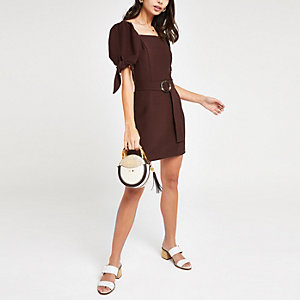Dark brown belted mini dress