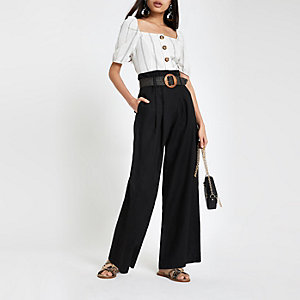 Black linen paperbag waist wide leg trousers