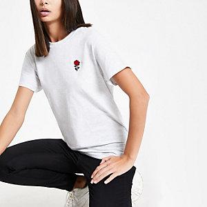 Grijs T-shirt met geborduurde roos