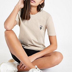 T-shirt beige avec motif rose brodé
