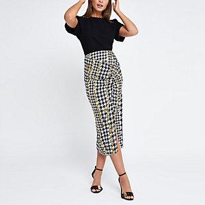 Black check chain ruched midi skirt
