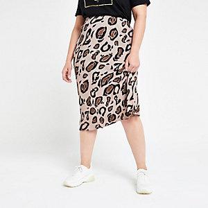 Plus brown leopard print bias cut midi skirt