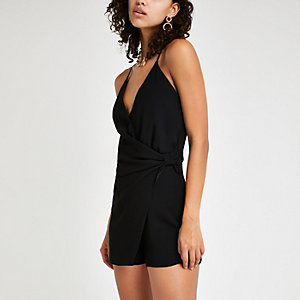 Black wrap knot side playsuit