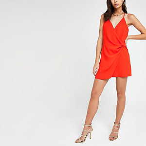 Red twist front playsuit