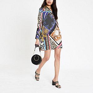 Blusenkleid in Lila mit Print