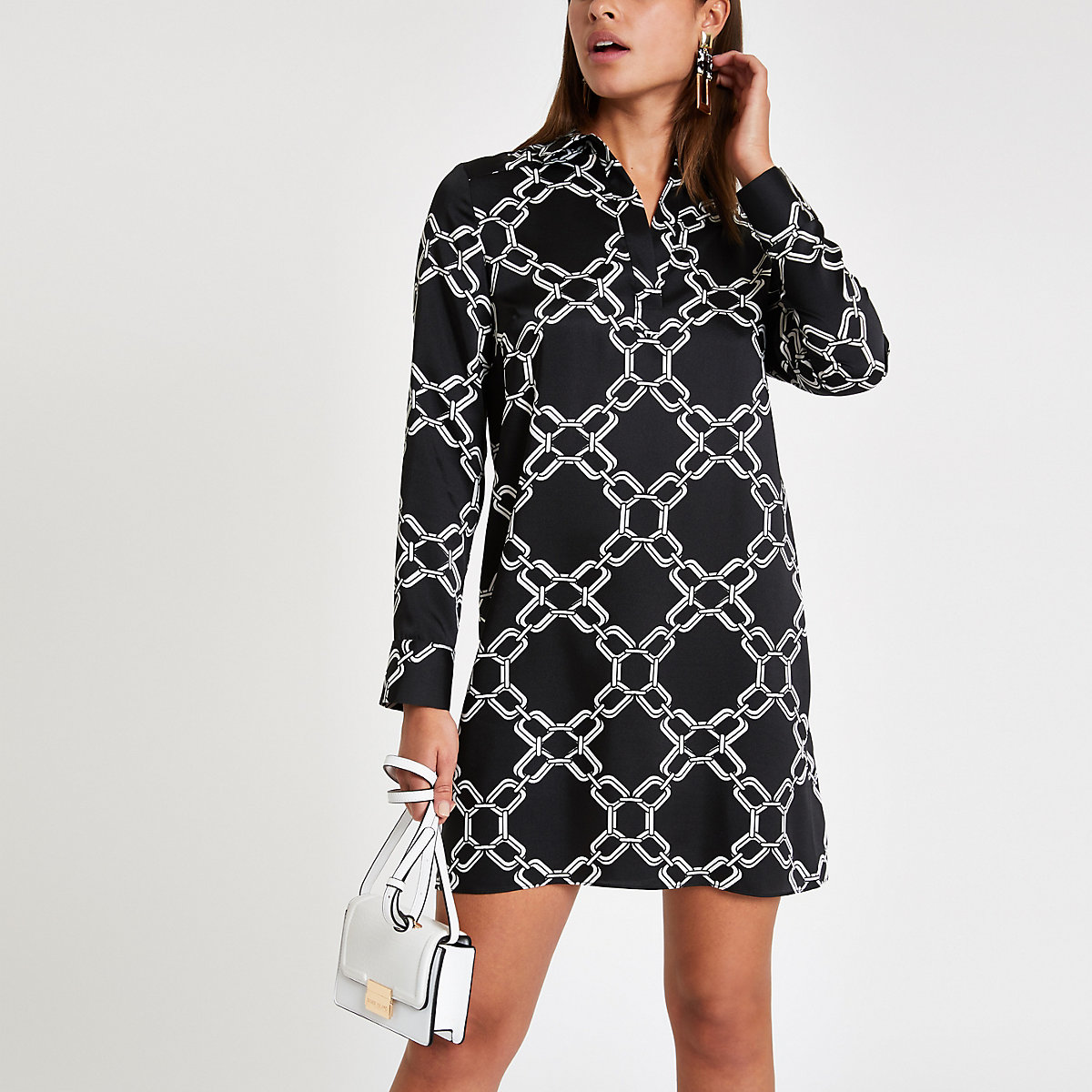 Black print shirt dress