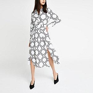 White print midi shirt dress