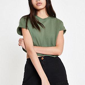 T-shirt court kaki à manches courtes
