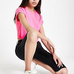 Roze cropped T-shirt met korte mouwen