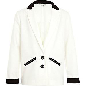 Girls cream colour block tux blazer