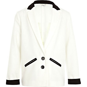 Girls cream color block tux blazer