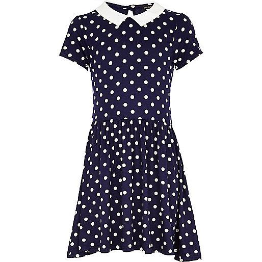 Girls navy polka dot molly dress