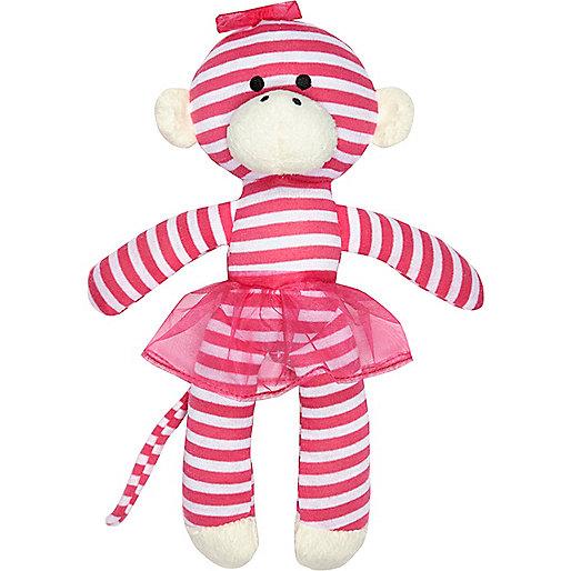 Mini girls pink stripe monkey