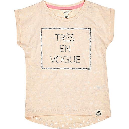 Mini girls peach Tres En Vogue t-shirt
