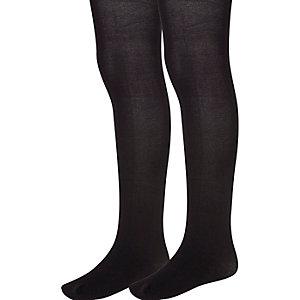 Girls black 2 pack tights