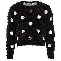Girls black spot fluffy sweater