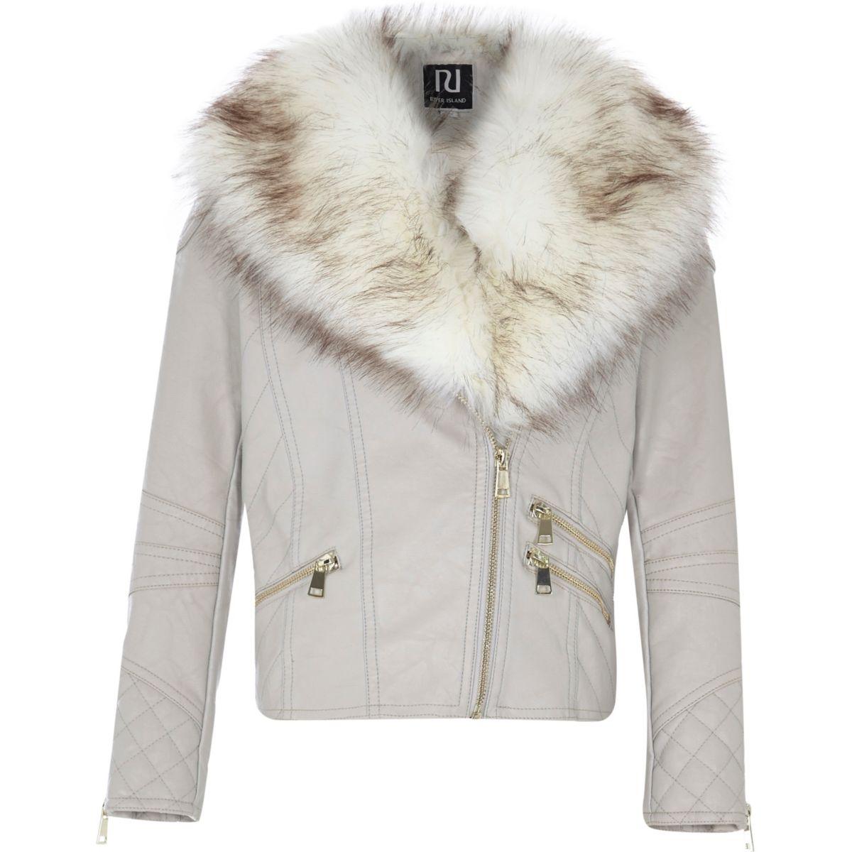 Girls cream pu faux fur collar biker jacket - Coats & Jackets ...