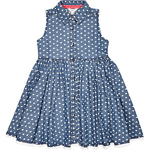 Mini girls blue denim heart print dress