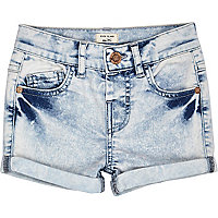 Mini girls acid wash denim shorts