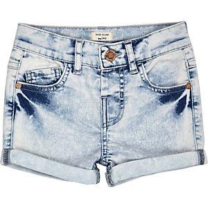 Mini girls acid wash denim shorts
