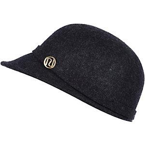 Girls navy felt peak hat