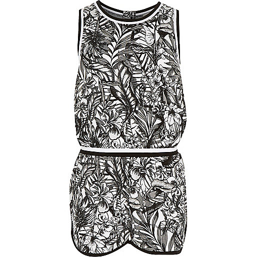 combi short imprim tropical noir pour fille combi shorts combinaisons promos fille. Black Bedroom Furniture Sets. Home Design Ideas