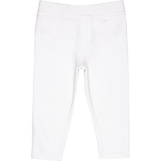 Mini girls white denim look leggings