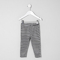 Mini girls black stripe leggings