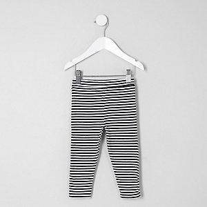Mini girls black stripe leggings