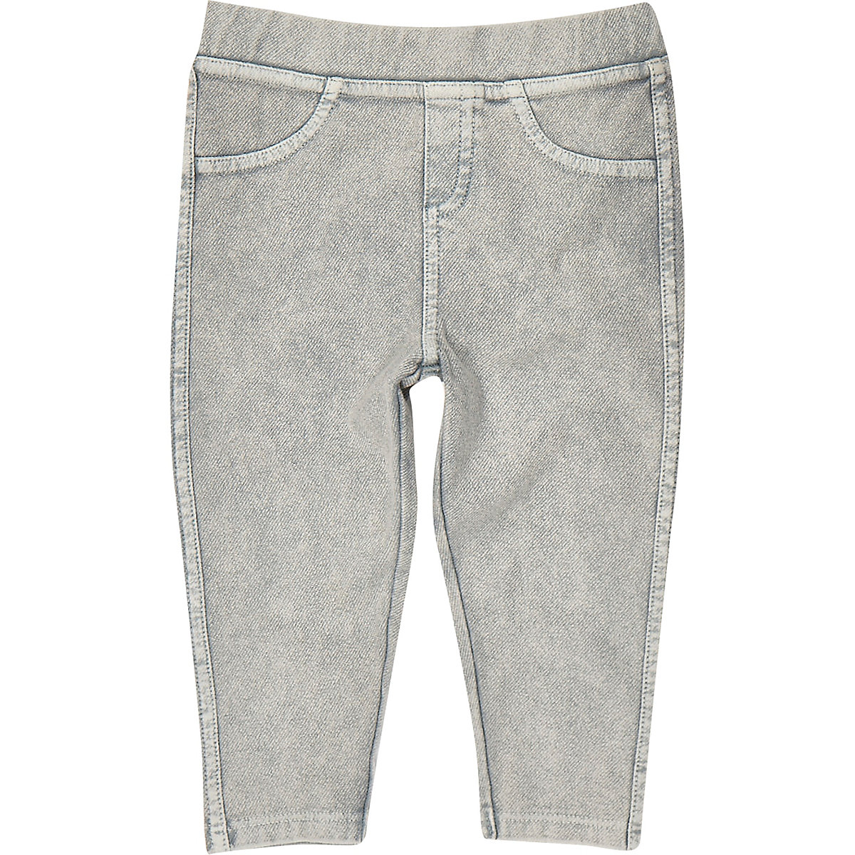 Mini girls light grey denim leggings